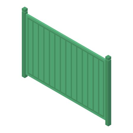 Green wood fence icon, isometric style