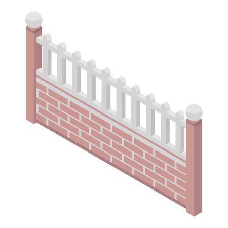 Brick fence icon. Isometric of brick fence vector icon for web design isolated on white background Standard-Bild - 130256373