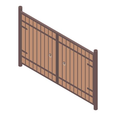 Wood gates icon, isometric style