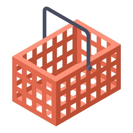 Red shop basket icon, isometric style