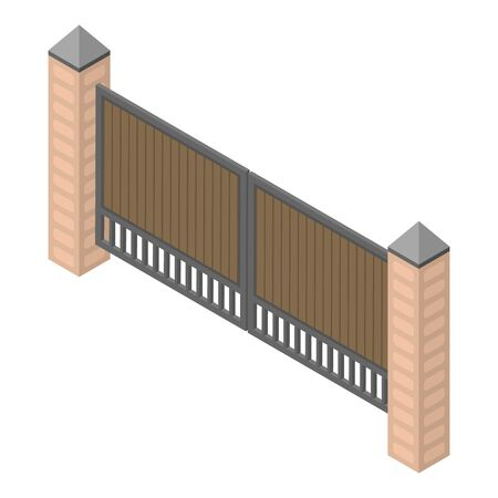 Wood metal gates icon, isometric style