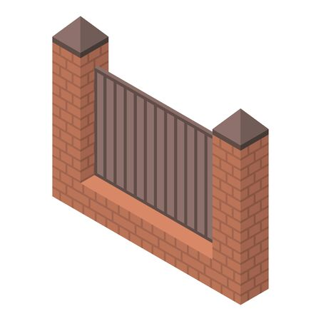 Red brick fence icon, isometric style