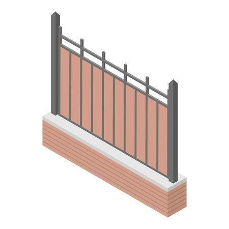 Metal plastic fence icon, isometric style