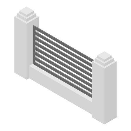 White modern fence icon. Isometric of white modern fence vector icon for web design isolated on white background