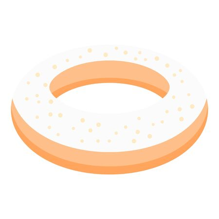 Vanilla donut icon. Isometric of vanilla donut vector icon for web design isolated on white background