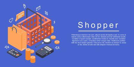Shopper concept banner. Isometric illustration of shopper vector concept banner for web design Illustration