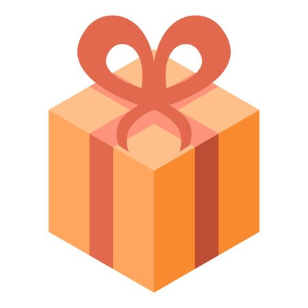 Yellow gift box icon, isometric style