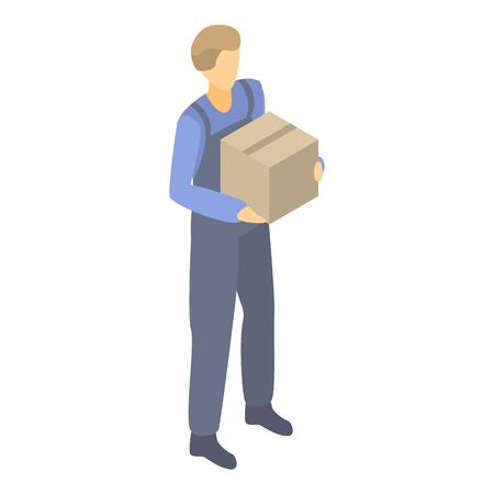 Delivery man icon, isometric style
