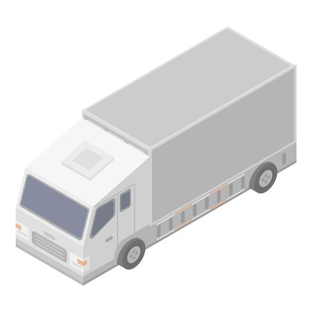 White delivery truck icon. Isometric of white delivery truck vector icon for web design isolated on white background