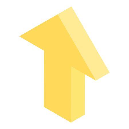 Yellow arrow icon, isometric style