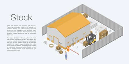 Stock warehouse concept banner. Isometric illustration of stock warehouse vector concept banner for web design