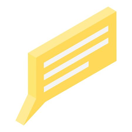 Yellow chat text icon, isometric style