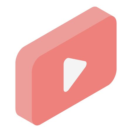 Red play video button icon, isometric style
