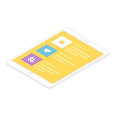Modern tablet icon, isometric style