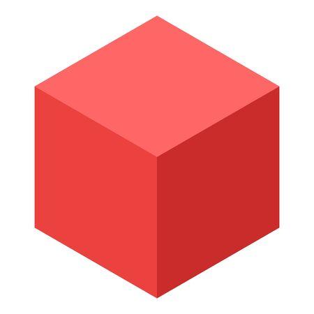 Red cube icon, isometric style Illusztráció