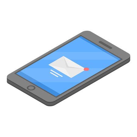 Smartphone new mail icon. Isometric of smartphone new mail vector icon for web design isolated on white background