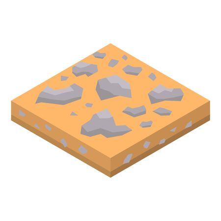 Icona del suolo roccioso di sabbia, stile isometrico