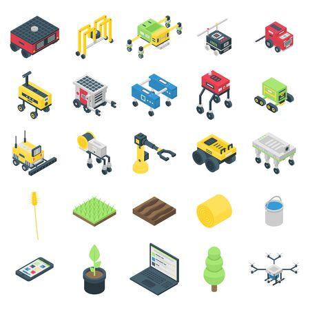 Jeu d'icônes de robot agricole, style isométrique