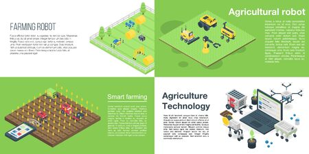 Agricultural robot banner set. Isometric set of agricultural robot vector banner for web design Vektorové ilustrace
