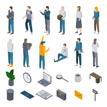 Unemployed icons set. Isometric set of unemployed vector icons for web design isolated on white background