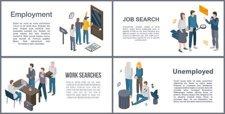 Unemployed office banner set, isometric style  イラスト・ベクター素材