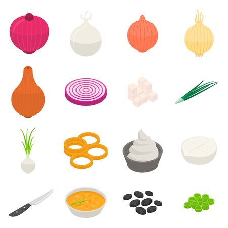 Onion icons set. Isometric set of onion vector icons for web design isolated on white background