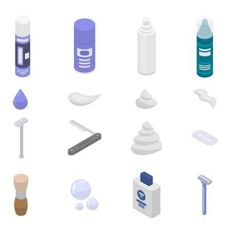 Shaving foam icons set. Isometric set of shaving foam vector icons for web design isolated on white background