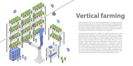 Vertical farming concept banner. Isometric illustration of vertical farming vector concept banner for web design 向量圖像