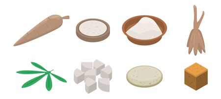 Cassava icons set. Isometric set of cassava vector icons for web design isolated on white background