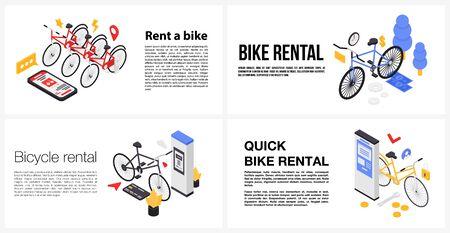 Rent a bike banner set, isometric style