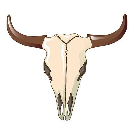 Cow skull icon, cartoon style