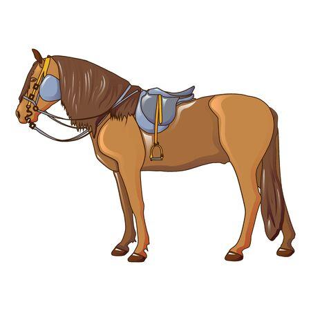 Cowboy horse icon, cartoon style