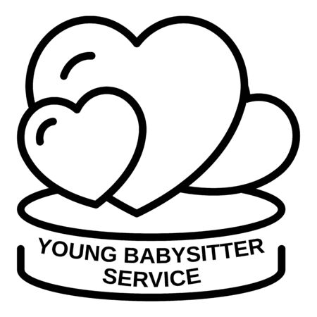 Young babysitter service icon, outline style Иллюстрация