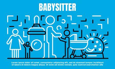 Babysitter banner, outline style