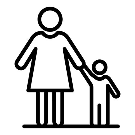 Mother and child icon, outline style