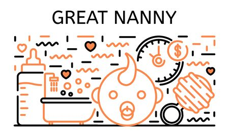 Great nanny banner, outline style