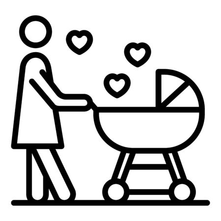 Mother baby in love icon, outline style