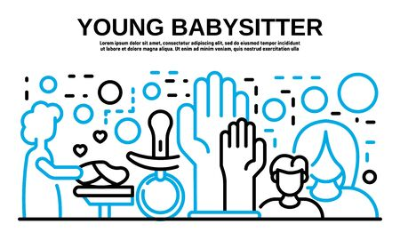 Young babysitter banner, outline style
