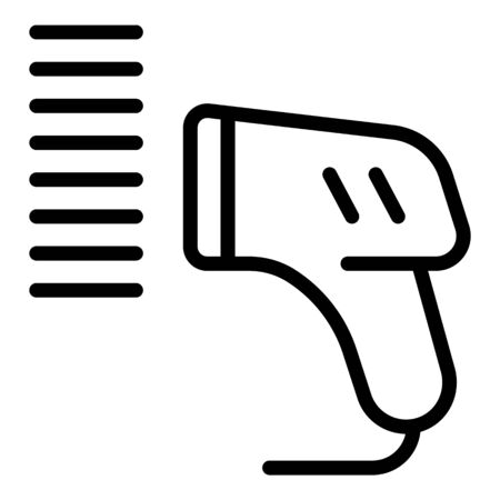 Handle barcode scanner icon, outline style Illustration