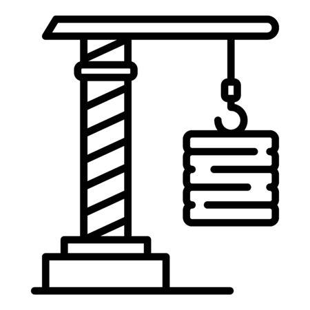 Rope crane icon, outline style Ilustración de vector