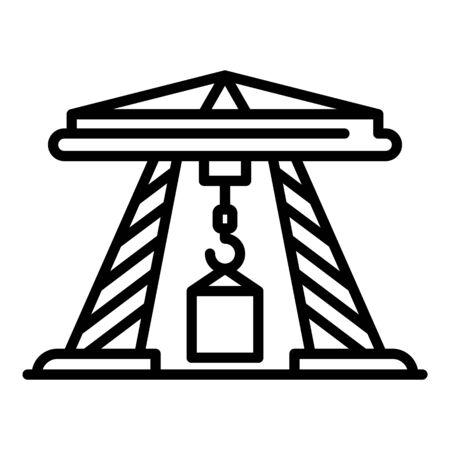 Sea port crane icon, outline style  イラスト・ベクター素材