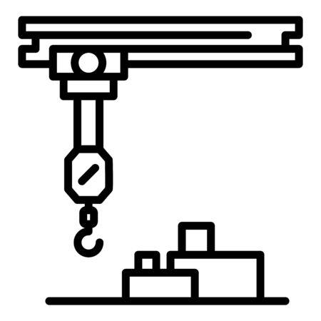 Mobile hook crane icon, outline style Иллюстрация