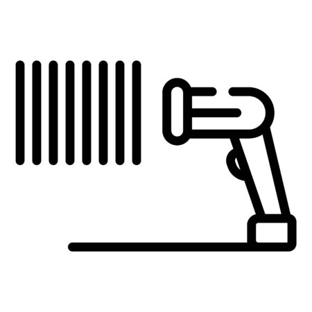 Identification barcode scanner icon, outline style
