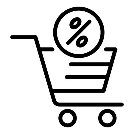 Percent shop cart icon, outline style Illustration