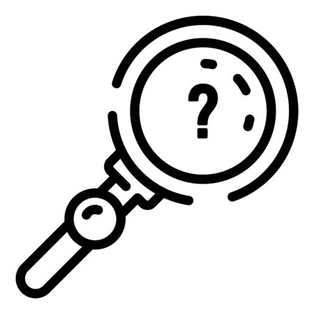 Quest question magnify glass icon, outline style Illusztráció