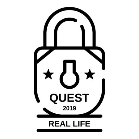 Padlock quest real life icon, outline style