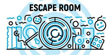 Escape room banner, outline style