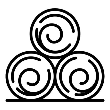Roll hay icon, outline style