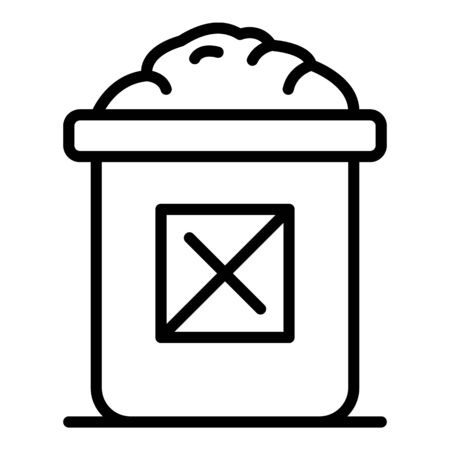 Garbage box icon, outline style  イラスト・ベクター素材