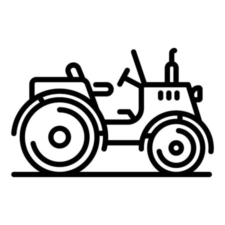 Old farm tractor icon. Outline old farm tractor vector icon for web design isolated on white background